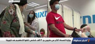 وزارة الصحة: أكثر من مليون و300 ألف شخص تلقوا التطعيم ضد كورونا،اخبارمساواة،05.01.2021،مساواة
