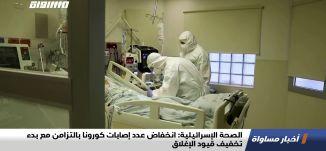 الصحة الإسرائيلية: انخفاض عدد إصابات كورونا بالتزامن مع بدء تخفيف قيود الإغلاق،اخبارمساواة،18.10.20