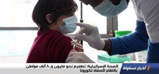 الصحة الإسرائيلية: تطعيم نحو مليون و800 ألف مواطن باللقاح المضاد لكورونا،اخبارمساواة،10.01.21،مساواة
