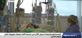 الصحة الإسرائيلية تسجل أكثر من خمسة آلاف إصابة بكورونا خلال اليوم الأخير،اخبار مساواة،18.9.20،مساواة