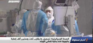 الصحة الإسرائيلية:تسجيل ما يقارب ثلاث وستين ألف إصابة بكورونا منذ بداية تفشي الوباء،اخبار مساواة27.7