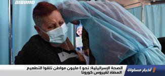 الصحة الإسرائيلية: نحو 4 مليون مواطن تلقوا التطعيم المضاد لفيروس كورونا،اخبارمساواة،16.02.21