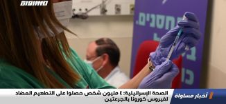 الصحة الإسرائيلية: 4 مليون شخص حصلوا على التطعيم المضاد لفيروس كورونا بالجرعتين،اخبارمساواة،26.01